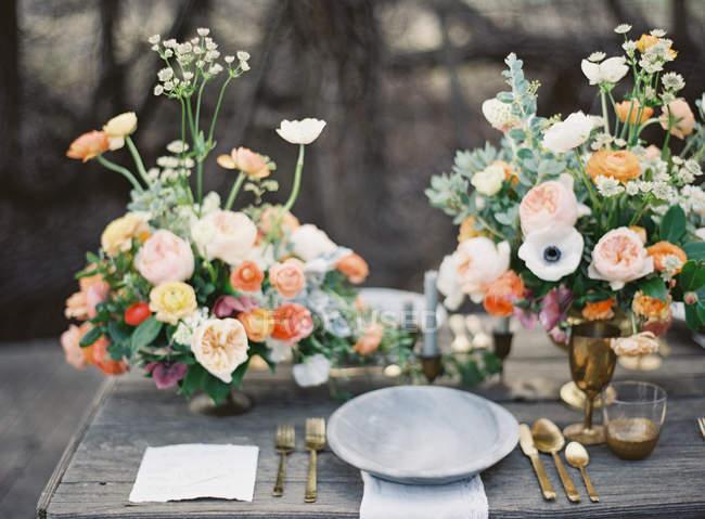 Mesa de ajuste de boda - foto de stock