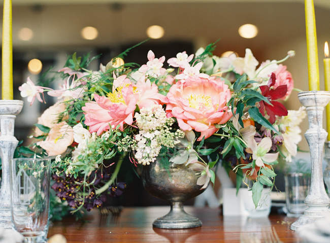 Beautiful bouquet with peonies — Stock Photo