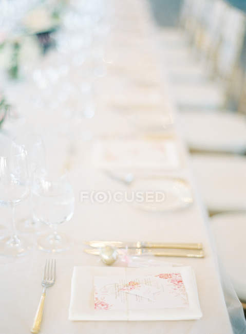 Tabella di regolazione di cerimonia nuziale — Foto stock