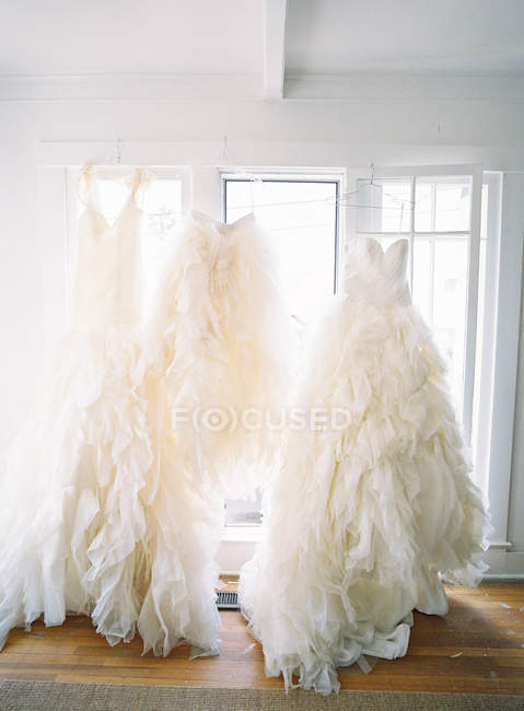 Fashion wedding dresses — Stock Photo