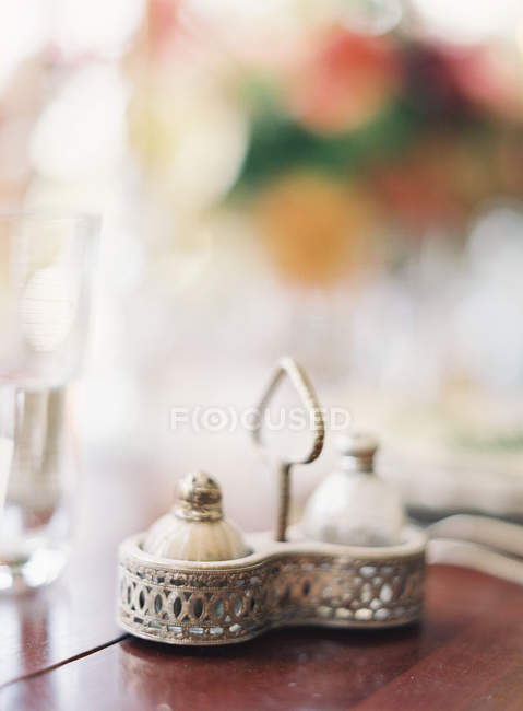 Vintage set of saltcellar and caster — Stock Photo