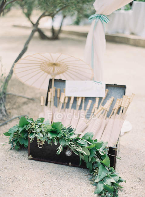 Case with umbrellas set outdoors — Stock Photo