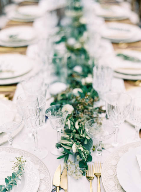 Setting table decorate with plants — Stock Photo