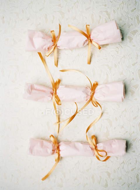 Wedding cards tubularly twisted — Stock Photo