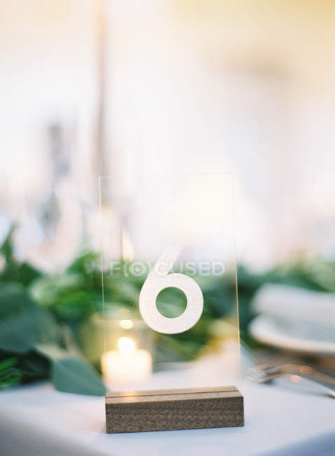 Plastic sign with number 6 — Stock Photo