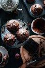 Muffin al cioccolato scuro — Foto stock