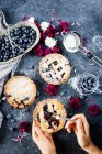 Homemade blueberry pies on table — Stock Photo