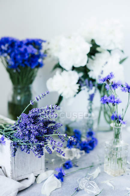 Summer bouquets. Lavender, cornflowers, pions — Stock Photo