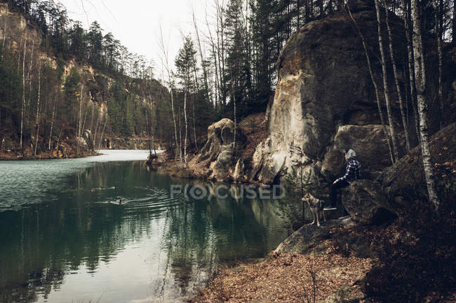 River with pine trees on shores — Stock Photo