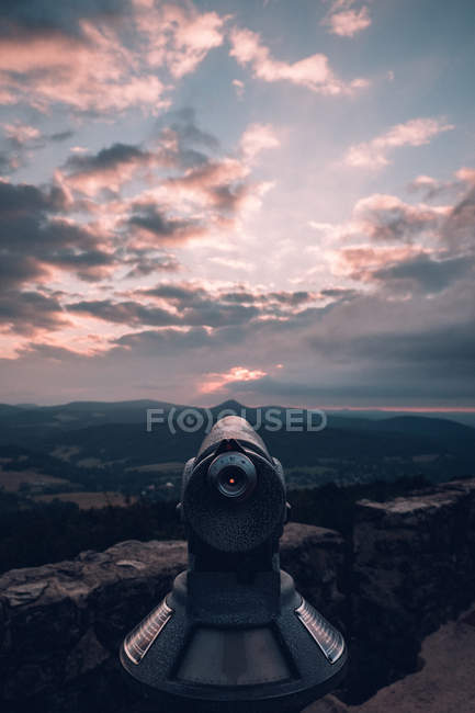 Public telescope on vista point — Stock Photo