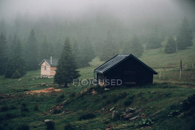 Maisons en bois sur la pente de la montagne — Photo de stock