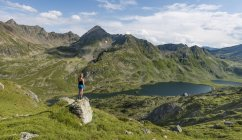 Female hiker enjoying view in mountains, Styria, Austria, Europe — Stock Photo