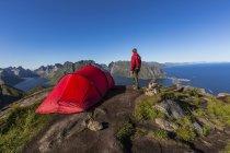 Red tent and hiker on Reinebringen mountain, Lofoten, Norway, Europe — Stock Photo