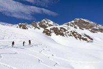 Mountain climbers ascending Staudenberg Joechl — Stock Photo