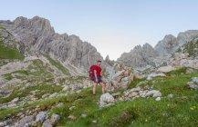 Hiker climbing on Fuchskarspitze, Allgau, Bavaria, Germany, Europe — Stock Photo