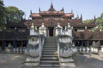 Stairs and facade of Shwenandaw Monastery, Mandalay, Myanmar, Asia — Stock Photo