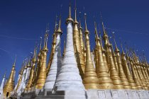 Low angle view of Pagoda Forest of restored stupas, Inle Lake, Shan State, Myanmar, Asia — Stock Photo