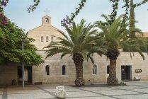 Igreja Católica de multiplicação em Tabgha, mar da Galileia, Israel, Ásia — Fotografia de Stock