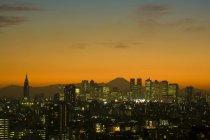 Закат над Токио город и гора Фудзи, Япония, Азия — стоковое фото