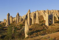 Fairy chimneys tufa formations in Love Valley of Goreme National Park, Turkey. — Stock Photo