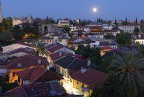 High angle view of old town with full moon, Kaleii, Antalya Province, Turkey — Stock Photo