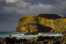 Ponta dos Capelinhos volcano with photographer on Island of Faial, Azores, Portugal, Europe — Stock Photo