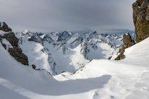 Suggestivo paesaggio delle Alpi di Lechtaler in inverno, Lechtal, Tirolo, Austria, Europa — Foto stock