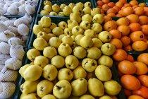 Айва и апельсины фрукты стенд, полный кадр — стоковое фото