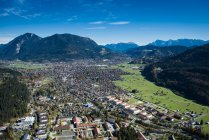 Aerial view of Garmisch-Partenkirchen in autumn, Upper Bavaria, Bavaria, Germany — Stock Photo