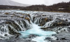 Wasserfall Bruarfoss im Winter in Selfoss, Island, Europa — Stockfoto