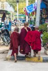 Rear view of young Buddhist monks walking on street in Kyaukme, Shan State, Myanmar, Asia — Stock Photo