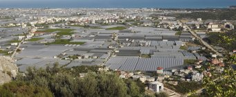 Aerial view of greenhouses of plants cultivation in Demre, Lycia, Turkey, Asia — Stock Photo