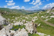 Rocky landscape of Kurumduk valley in Naryn province, Kyrgyzstan — Stock Photo