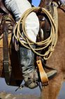 Cropped view of cowboy in saddle on horse, Stockyards National Historic District, Fort Worth, Texas, USA, North America — Stock Photo