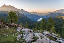Panorama view over Konigsee at sunset, National Park Berchtesgaden, Berchtesgadener Land, Upper Bavaria, Bavaria, Germany, Europe — Stock Photo