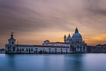 Building of Santa Maria della Salute at sunset, Venice, Italy, Europe — Stock Photo