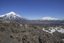 Lonquimay and Tolhuaca volcanos in Lonquimay, Araucania Region, Chile, South America — Stock Photo