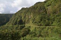 Estrada de montanha de Yungas estreita entre La Paz e Coroico, na Bolívia, América do Sul — Fotografia de Stock