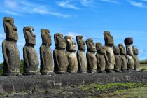 Moais at Ahu Tongariki, Rapa Nui National Park, Easter Island, Chile, South America — Stock Photo
