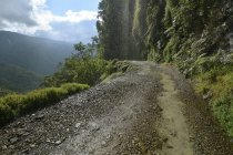 Yungas road in mountains between La Paz and Coroico, Bolivia, South America — стоковое фото
