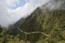 Dangerous mountain Yungas road between La Paz and Coroico, Bolivia, South America — стоковое фото