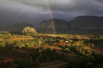 Tobacco field with karst mountain landscape with rain clouds and rainbow in Vinales Valley, Pinar del Rio Province, Cuba, Central America - foto de stock