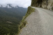 Dangerous mountain Yungas road between La Paz and Coroico, Bolivia, South America — стоковое фото