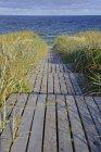 Boardwalk to Beach, Rantum, Sylt, North Frisian Islands, North Frisia, Schleswig-Holstein, Alemanha, Europa — Fotografia de Stock