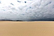 Sanddünen von wandernden Dünen von El Jable, Las Dunas de Corralejo, Naturpark Corralejo mit dramatischer Wolkenformation, Fuerteventura, Kanarische Inseln, Spanien, Europa — Stockfoto