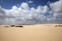 Sand dunes with clouds, wandering dunes of El Jable, Las Dunas de Corralejo, Corralejo Natural Park, Fuerteventura, Canary Islands, Spain, Europe — Stock Photo