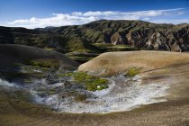Sulfur and limestone field of rhyolite mountains, Landmannalaugar, Fjallabak Nature Reserve, Highlands, Iceland, Europe — Stock Photo