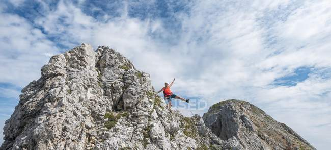Hiker posing on via ferrata, hiking trail, Karwendel, Mittenwald, Germany, Europe — Stock Photo