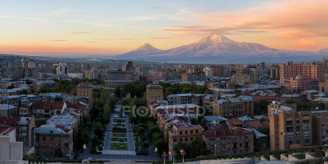 mount ararat and yerevan at sunrise high angle view middle east