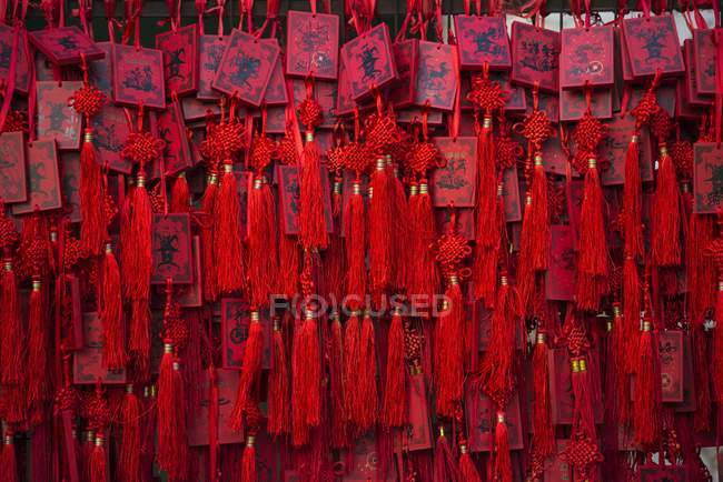 Red Chinese wishing cards — Stock Photo